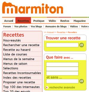 Moteur de recherche des recettes Marmiton