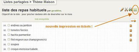 L'icône de tableau vert permet de lancer une impression en tickets