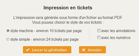 La fenêtre de choix d'options de l'impression en tickets