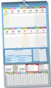 Le calendrier affiché, avec ses parties fixe et courante