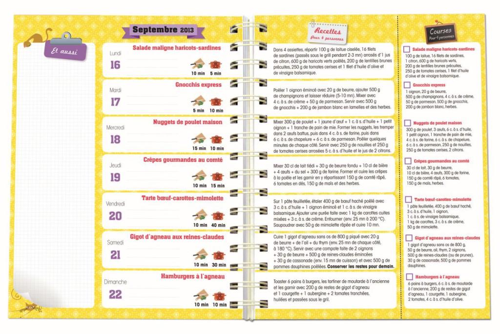 Les idées de recettes pour la semaine du 16 au 22 septembre 2013